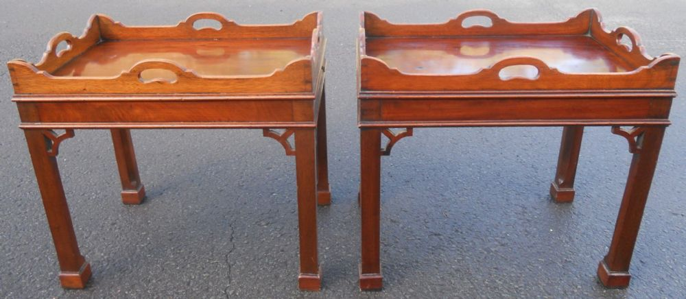 Pair Mahogany Tray Top Coffee Tables